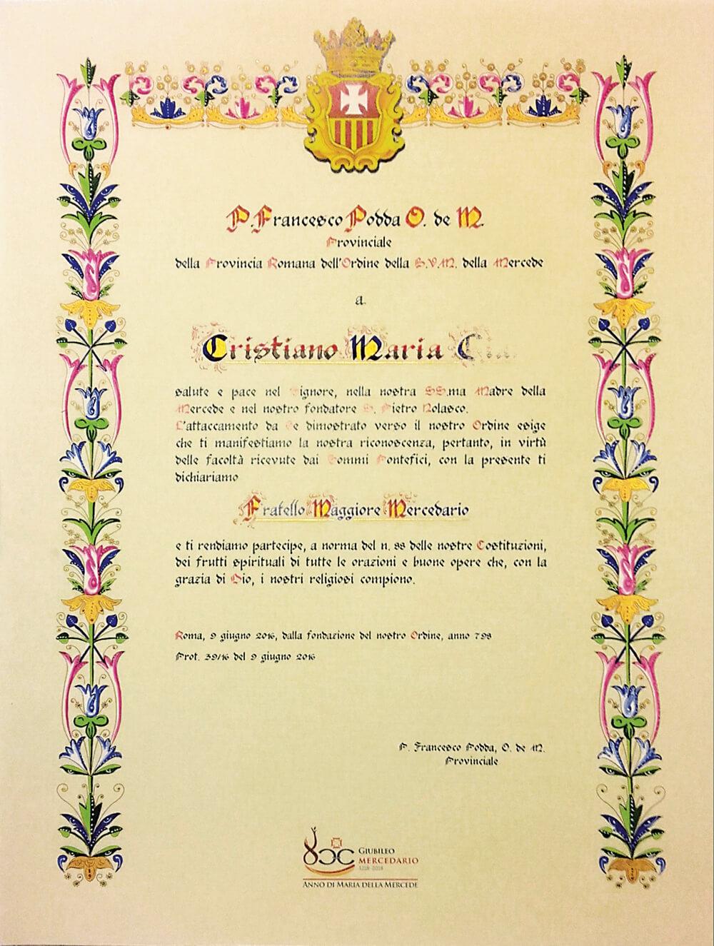 Pergamena per affiliazione ordine religioso dipinta a mano