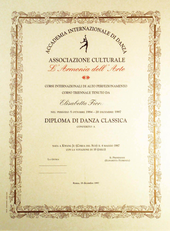Diploma corso di danza