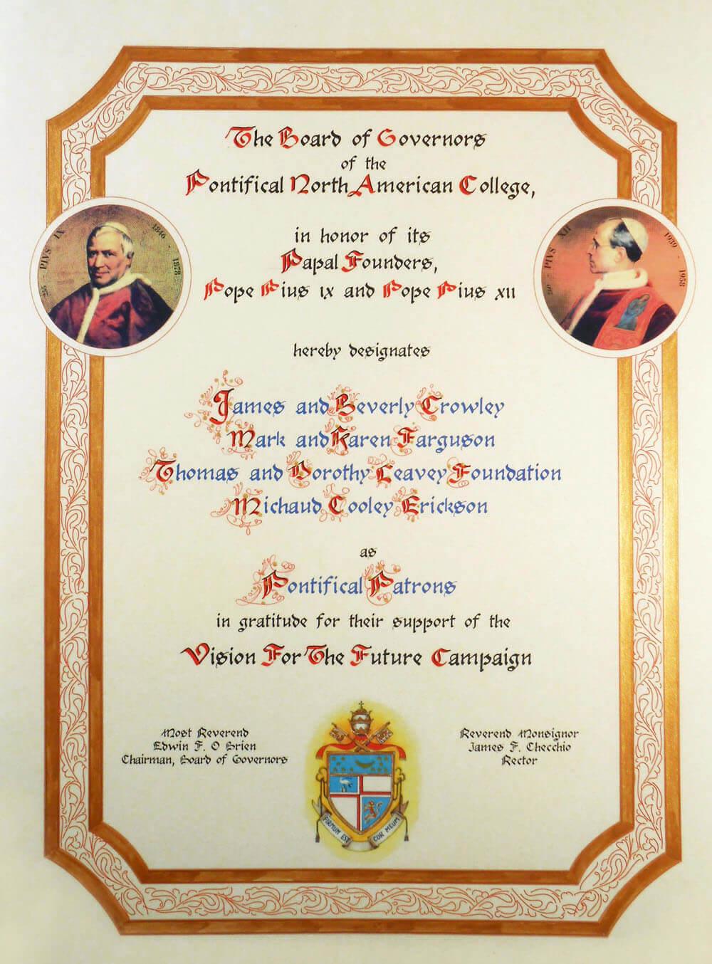 Pergamena riconoscimento ornato in oro