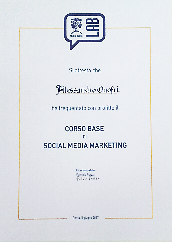 Attestato per corso social media marketing