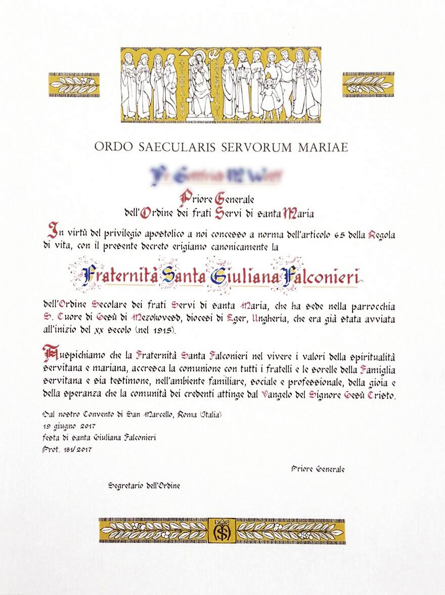 Pergamena di erezione canonica