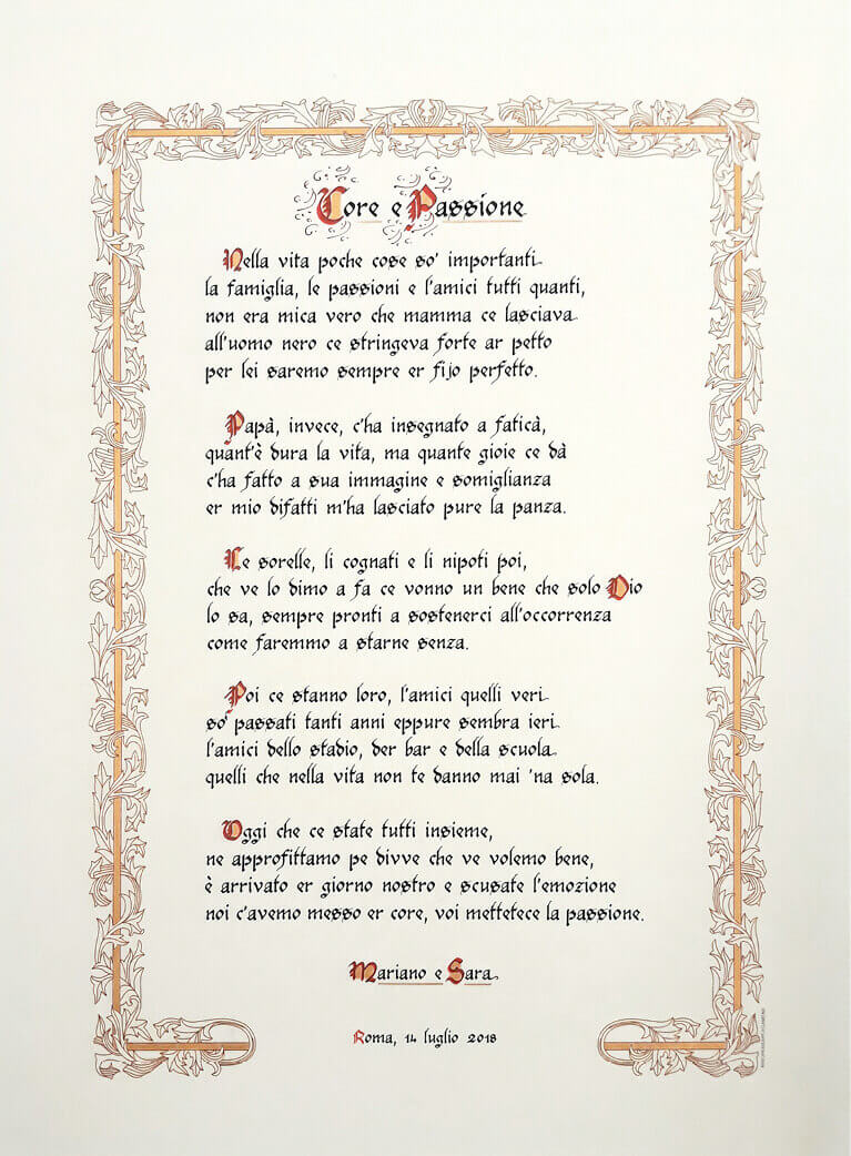 Rino Pensa Pergamene Poesia Matrimonio